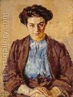 The Blue Blouse Portrait of Elene Zompolides by Harold Gilman - Reproduction Oil Painting