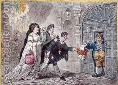 Theatrical Mendicants relieved by James Gillray - Reproduction Oil Painting