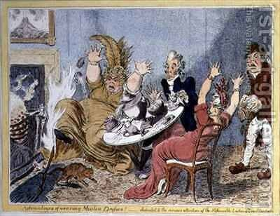 Advantages of Wearing Muslin Dresses Dedicated to the Serious Attention of the Fashionable Ladies of Great Britain by James Gillray - Reproduction Oil Painting