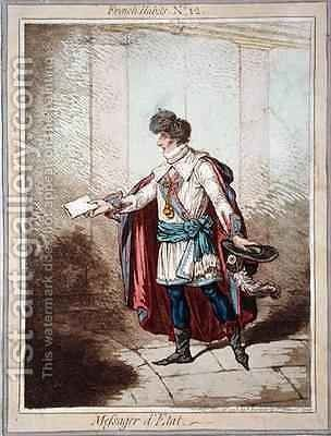 Messager de LEtat plate 12 from French Habits by James Gillray - Reproduction Oil Painting