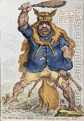The Republican Hercules Defending his Country by James Gillray - Reproduction Oil Painting