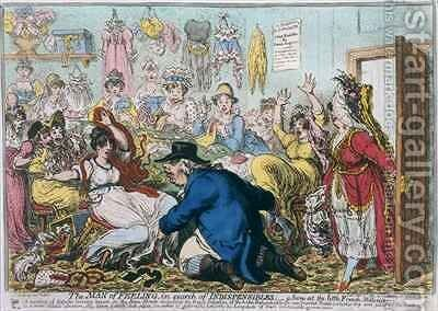 The Man of Feeling in Search of Indispensibles or A Scene at the French Milliners by James Gillray - Reproduction Oil Painting