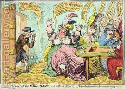 The Loss of the Faro Bank or The Rooks Pigeond by James Gillray - Reproduction Oil Painting