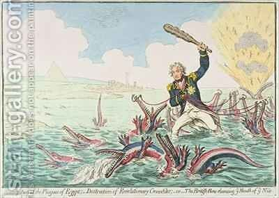 Extirpation of the Plagues of Egypt Destruction of Revolutionary Crocodiles by James Gillray - Reproduction Oil Painting