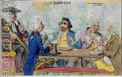 A Smoking Club by James Gillray - Reproduction Oil Painting