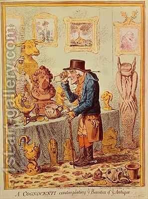 A Cognocenti Contemplating Ye Beauties of Ye Antique by James Gillray - Reproduction Oil Painting