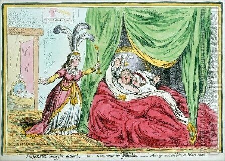 The Jersey Smuggler detected or Good Causes for Discontent Marriage vows are false as Dicers oaths by James Gillray - Reproduction Oil Painting