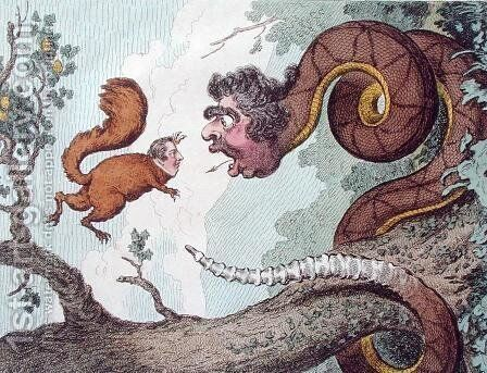The Republican Rattle Snake fascinating the Bedford Squirrel by James Gillray - Reproduction Oil Painting