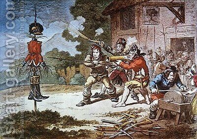 Society of United Irishmen in training against the British Army by James Gillray - Reproduction Oil Painting