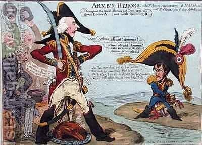 Armed Heroes or Military Appearances at St Stephens and at St Clouds on the Day of Defiance by James Gillray - Reproduction Oil Painting