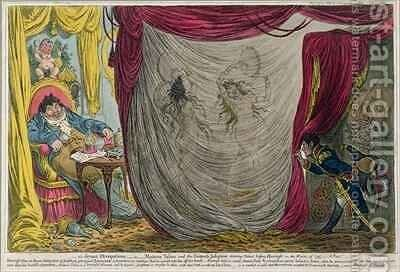 Ci devant Occupations or Madame Talian and the Empress Josephine Dancing Naked before Barrass in the Winter of 1797 by James Gillray - Reproduction Oil Painting