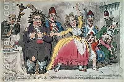 Louis XVI 1754-93 Taking Leave of his Wife and Family by James Gillray - Reproduction Oil Painting