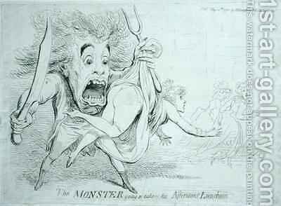 The Monster going to take his Afternoons Luncheon by James Gillray - Reproduction Oil Painting