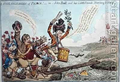Preliminaries of Peace or John Bull and his Little Friends Marching to Paris by James Gillray - Reproduction Oil Painting