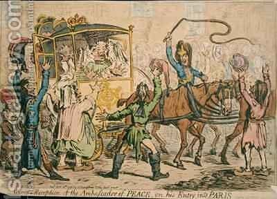 Glorious Reception of the Ambassador of Peace on his Entry into Paris by James Gillray - Reproduction Oil Painting