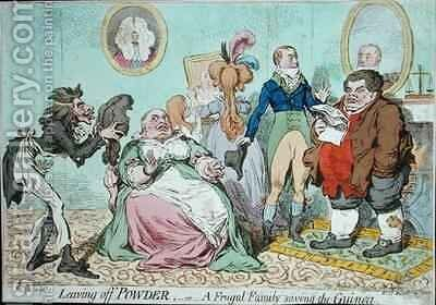 Leaving off Powder or A Frugal Family saving the Guinea by James Gillray - Reproduction Oil Painting