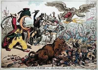 The State of War or The Monkey Race in Danger by James Gillray - Reproduction Oil Painting