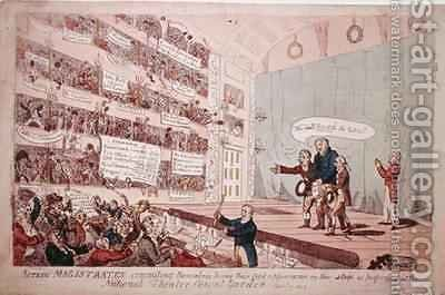 Acting Magistrates committing themselves being their first appearance as performed at the National Theatre Covent Garden by James Gillray - Reproduction Oil Painting
