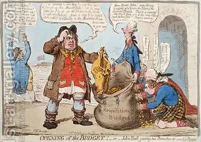 Opening of the Budget or John Bull Giving his Breeches to Save his Bacon by James Gillray - Reproduction Oil Painting