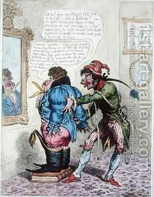 French Taylor fitting John Bull with a Jean de Bry by James Gillray - Reproduction Oil Painting