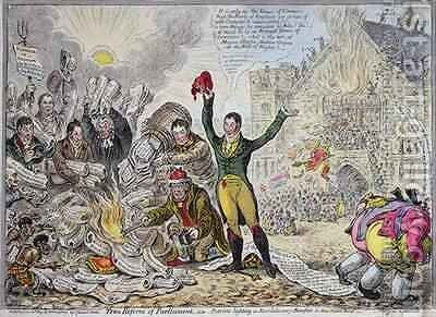True Reform of Parliament ie Patriots lighting a Revolutionary Bonfire in New Palace Yard 2 by James Gillray - Reproduction Oil Painting
