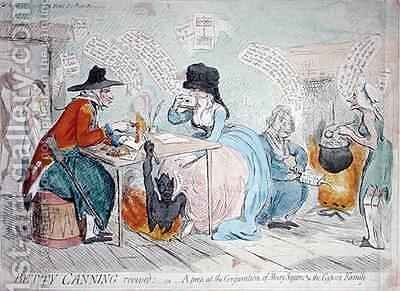 Betty Canning revived or A peep at the conjuration of Mary Squires and the Gypsey Family 2 by James Gillray - Reproduction Oil Painting