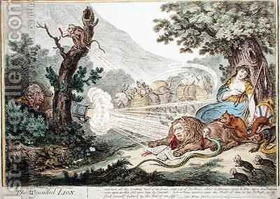 The Wounded Lion 2 by James Gillray - Reproduction Oil Painting