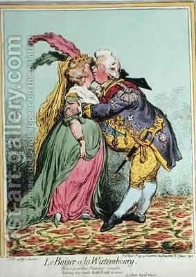 Le Baiser a la Wirtembourg 2 by James Gillray - Reproduction Oil Painting