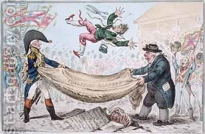 The high flying Candidate mounting from a Blanket by James Gillray - Reproduction Oil Painting