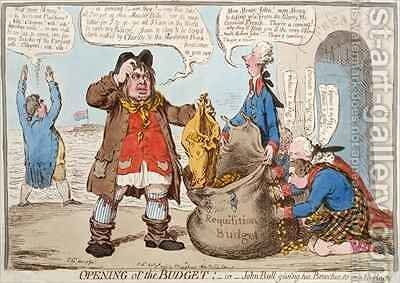 Opening of the Budget or John Bull Giving his Breeches to Save his Bacon 2 by James Gillray - Reproduction Oil Painting