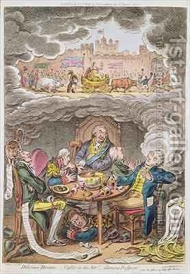 Delicious Dreams Castles in the Air Glorious Prospects vide An Afternoon Nap after the Fatigue of an Official Dinner 2 by James Gillray - Reproduction Oil Painting