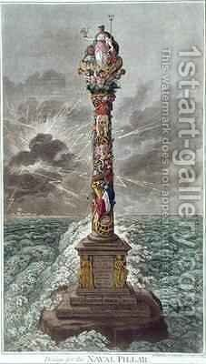 The Trident is Confirmed or Design for a Naval Pillar adapted from The Pursuits of Literature by James Gillray - Reproduction Oil Painting