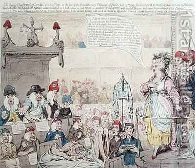 The heroic Charlotte la Corde 1768-93 upon her Trial at the Revolutionary Tribunal of Paris by James Gillray - Reproduction Oil Painting