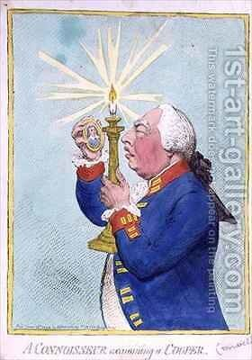 A Connoisseur examining a Cooper George III 1738-1820 fearing a new revolution peers at a portrait of Cromwell by James Gillray - Reproduction Oil Painting