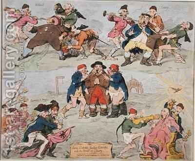 Sans Culottes Feeding Europe with the Bread of Liberty by James Gillray - Reproduction Oil Painting
