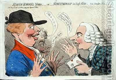 Scotch Harrys News or Nincumpoop in high Glee by James Gillray - Reproduction Oil Painting