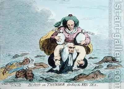 Blood on Thunder fording the Red Sea by James Gillray - Reproduction Oil Painting