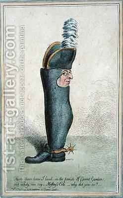 Cartoon depicting Colonel Justly Watson with the body of a boot by James Gillray - Reproduction Oil Painting