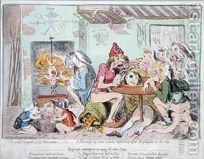 Un Petit Souper a la Parisienne or A Family of Sans Culottes Refreshing after the Fatigues of the Day by James Gillray - Reproduction Oil Painting