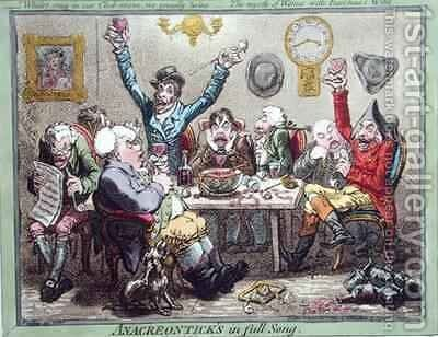Anacreonticks in full Song by James Gillray - Reproduction Oil Painting