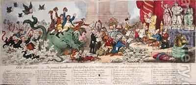 New Morality or The promisd Installment of the High Priest of the Theophilanthropes by James Gillray - Reproduction Oil Painting