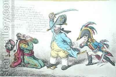 The Magnanimous Minister Chastising Prussian Perfidy by James Gillray - Reproduction Oil Painting