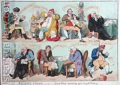 Nelsons Victory or Good News operating on Loyal Feelings by James Gillray - Reproduction Oil Painting