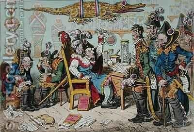French Generals Retiring on account of their health with Lepaux presiding in the Directorial Dispensary by James Gillray - Reproduction Oil Painting