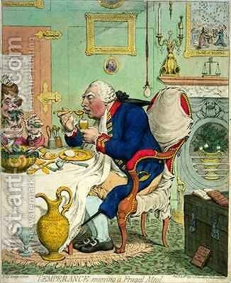 Temperance enjoying a Frugal Meal by James Gillray - Reproduction Oil Painting