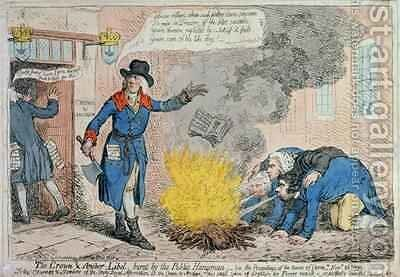 The Crown and Anchor Libel burnt by the Public Hangman by James Gillray - Reproduction Oil Painting