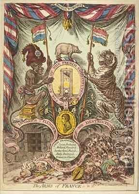 The Arms of France illustration from Loyal and patriotic hand bills songs addresses etc on the threatened invasion of Great Britain by Bonaparte by James Gillray - Reproduction Oil Painting