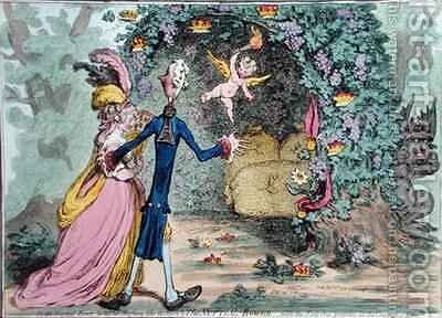 The Nuptial Bower with the Evil One peeping at the Charms of Eden by James Gillray - Reproduction Oil Painting