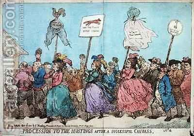 Procession to the Hustings after a Successful Canvass by James Gillray - Reproduction Oil Painting