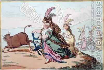 The Gordon Knot or The Bonny Duchess hunting the Bedford Bull by James Gillray - Reproduction Oil Painting